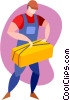 Vector Clipart graphic  of a farmer with a bail of hay