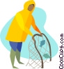 Vector Clipart graphic  of a Commercial fisherman