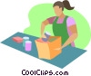 Vector Clip Art picture  of a Woman working in a grocery