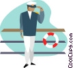 captain of a ship Vector Clip Art graphic