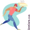 Vector Clip Art picture  of a pizza delivery man