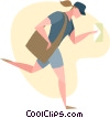 postal worker Vector Clipart graphic