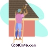 Vector Clipart graphic  of a roofer