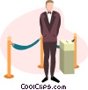 person collecting movie tickets Vector Clipart illustration