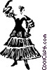 Vector Clip Art picture  of a Mexican/Spanish dancer