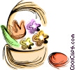 Vector Clip Art graphic  of a Easter basket with eggs