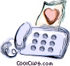 Vector Clip Art image  of a Love letter and fax machine