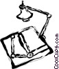 Vector Clip Art image  of a Drafting table with lamp