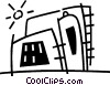 Vector Clip Art graphic  of a factory