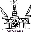 Vector Clipart image  of a offshore drilling platform