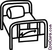 Vector Clip Art image  of a hospital bed