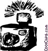 camera with a flash Vector Clip Art picture