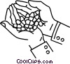 Vector Clipart image  of a hand full of pills