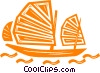 Vector Clipart image  of a Chinese Junk