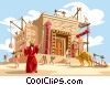 Vector Clip Art image  of a Solomon builds the Temple