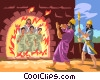 Shadrach, Meshach, Abednego in fiery furnace Vector Clip Art image