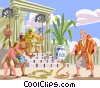 Moses and the Pharaoh - turns his staff to a snake Vector Clipart illustration