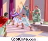 Caesar's stabbing by Brutus and Cassius Vector Clipart illustration