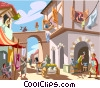 Vector Clipart picture  of a Roman street scene