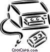 video cassette player with tapes Vector Clip Art graphic