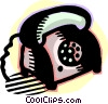 vintage telephone Vector Clipart graphic
