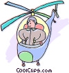 person flying a helicopter Vector Clipart image
