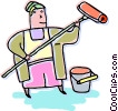 painter with a paint roller Vector Clip Art graphic