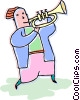 Vector Clipart graphic  of a person playing the trumpet