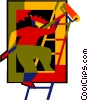 Vector Clip Art image  of a painter on a ladder
