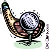 Vector Clip Art picture  of a golf club and golf ball