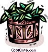 Vector Clipart illustration  of a plant in a basket