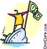 man on a sinking ship with a dollar flag Vector Clipart picture
