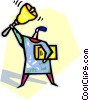 teacher ringing a school bell Vector Clip Art picture
