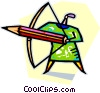 archer with a large pencil as an arrow Vector Clip Art picture