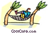 person relaxing in a hammock Vector Clipart picture