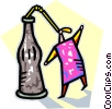 Vector Clipart illustration  of a drinking from large bottle of soda