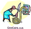 Vector Clip Art graphic  of a cutting all e-mail ties
