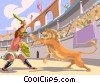 Vector Clipart illustration  of a Roman gladiator fighting a