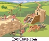 Vector Clip Art picture  of a Romans building a wall