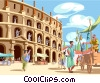 People at the Roman Coliseum Vector Clip Art graphic