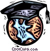 planet earth with a graduation hat Vector Clipart graphic