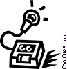 Vector Clipart illustration  of a microphone and tape player