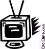 television set Vector Clipart illustration
