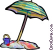 Vector Clip Art image  of a Beach umbrella with pail and