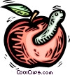 Vector Clipart graphic  of an Apple with a worm