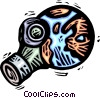 Vector Clip Art graphic  of a planet earth with a gas mask