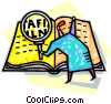 Vector Clip Art image  of a reading a book with a