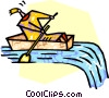 person trying to row away from a waterfall Vector Clipart illustration