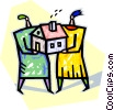 Vector Clipart image  of a couple with a new/first home