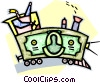 Vector Clipart graphic  of a train engine made out of a